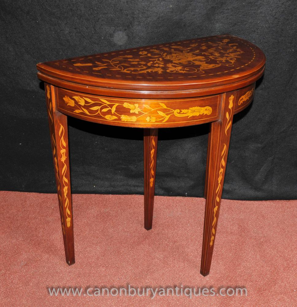 Sheraton card console table demi lune mahogany inlay for Table cuisine demi lune