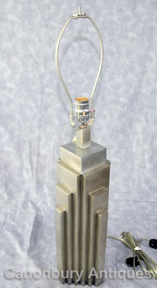 silver bronze art deco nyc skyscraper table lamp new york. Black Bedroom Furniture Sets. Home Design Ideas
