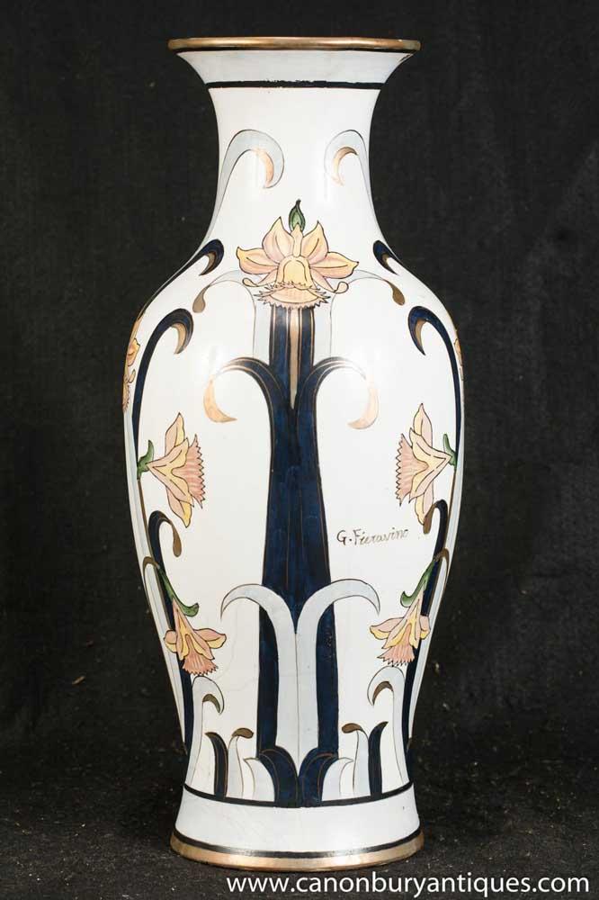 Single French Art Nouveau Porcelain Vase Signed Fierranino