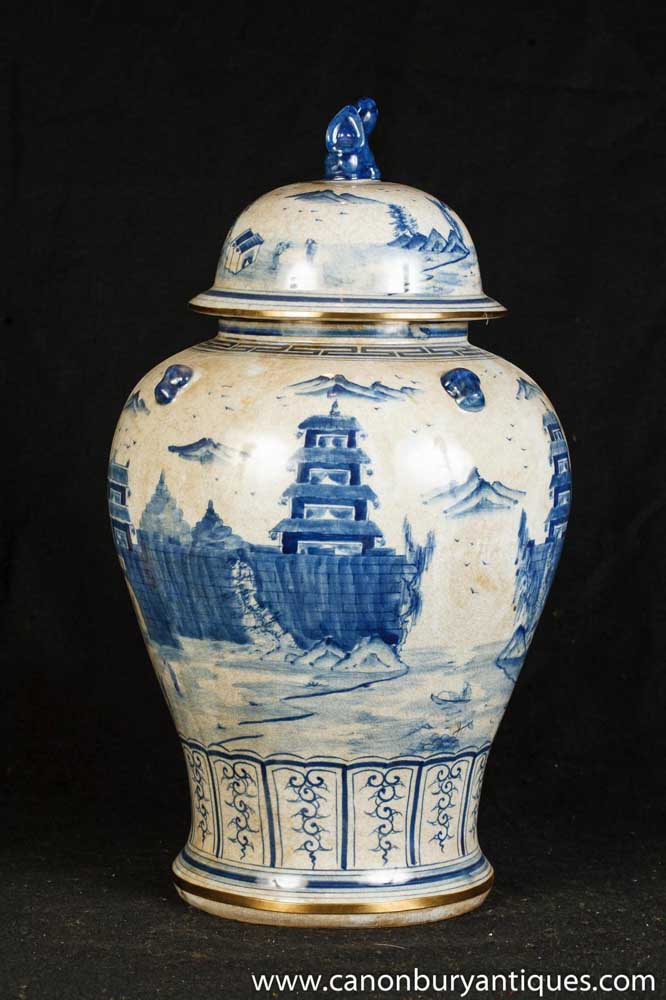 Single Nanking Pottery Ginger Jar Blue White Chinese Porcelain Vase