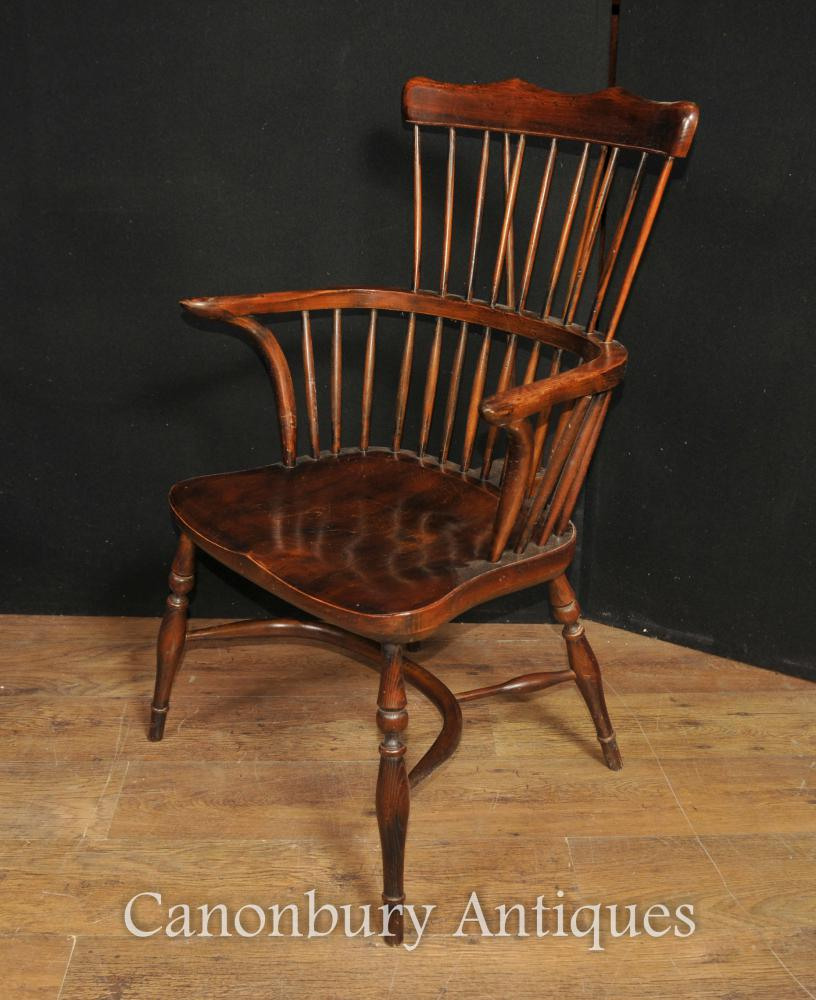 Antique wooden spindle chairs - Single Antique Oak Windsor Arm Chair
