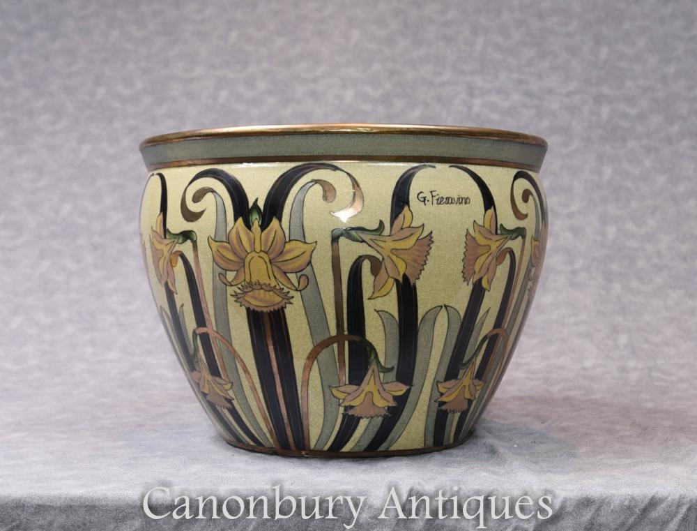 Single Art Nouveau Italian Porcelain Planter Pot Signed