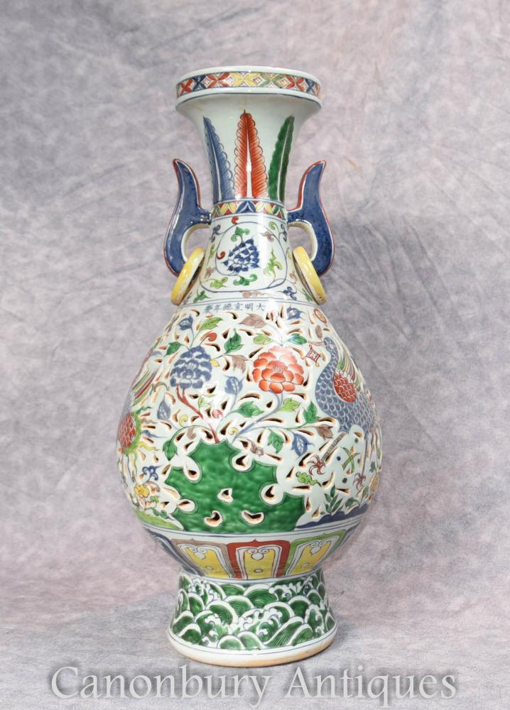 Single Chinese Porcelain Dragon Vase Urn Qianlong Ceramic