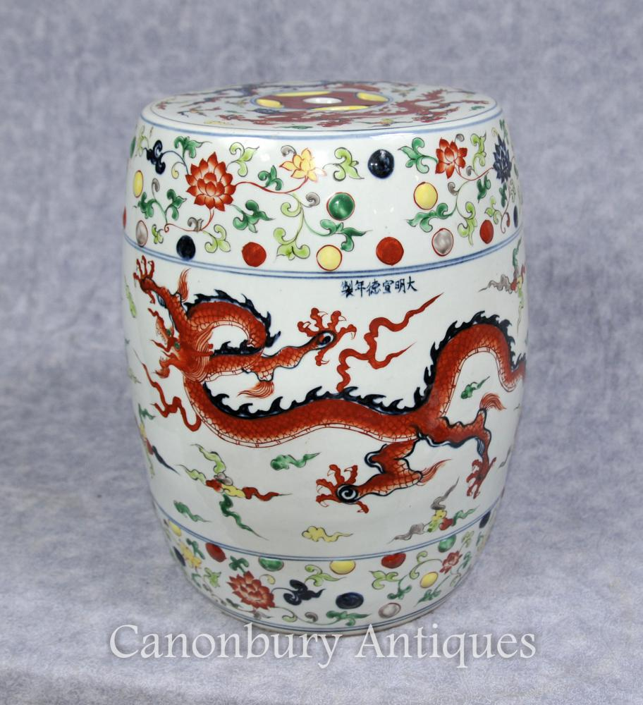 Single Qianlong Chinese Porcelain Garden Seat Stool