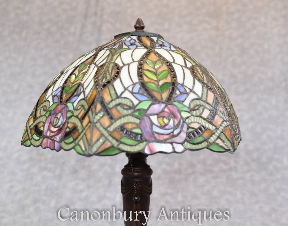 Tiffany Lamp Art Nouveau French Bronze Table Light