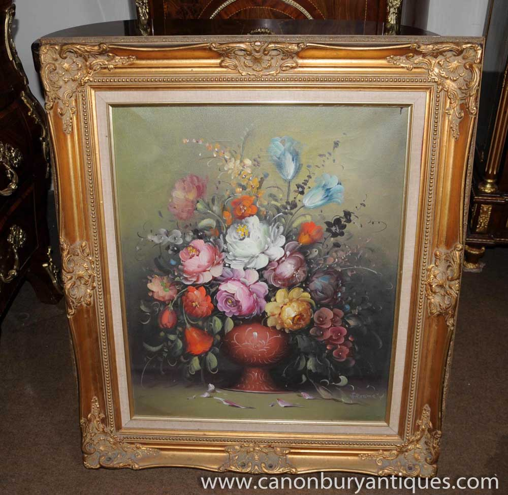 Victorian Floral Still Life Oil Painting Gilt Frame Art