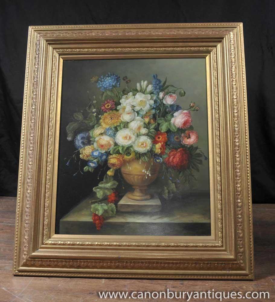 Victorian Floral Still Life Oil Painting Gilt Frame Art