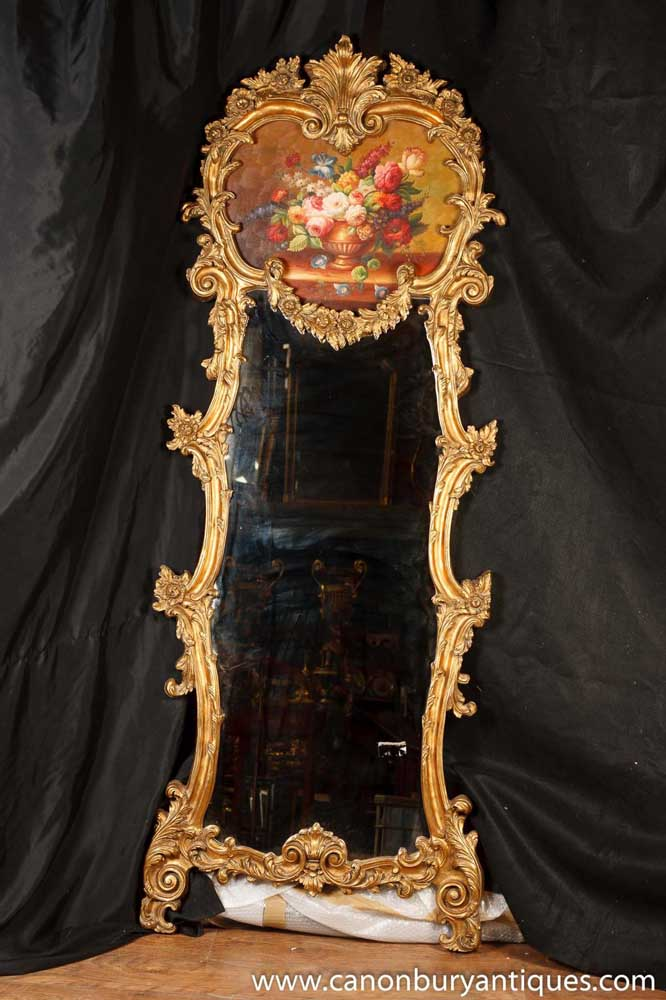 Victorian Rococo Pier Mirror Painted Floral Panel Gilt Frame