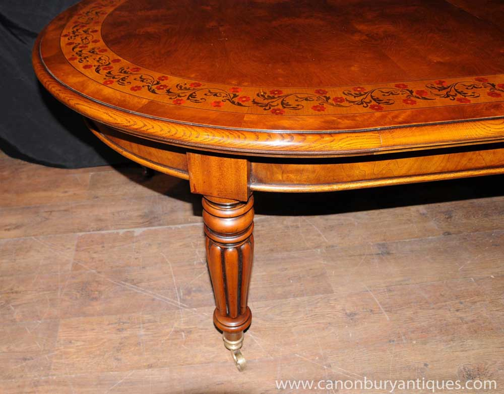 victorian walnut dining table extending tables marquetry inlay. Black Bedroom Furniture Sets. Home Design Ideas