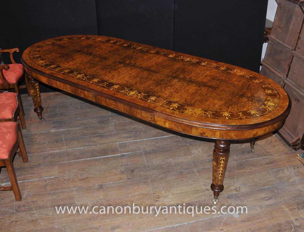Victorian Walnut Extending Dining Table Marquetry Inlay Tables | EBay