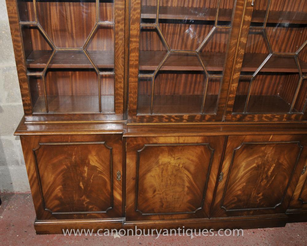Victorian Breakfront Bookcase Shelf Unit Display Cabinet