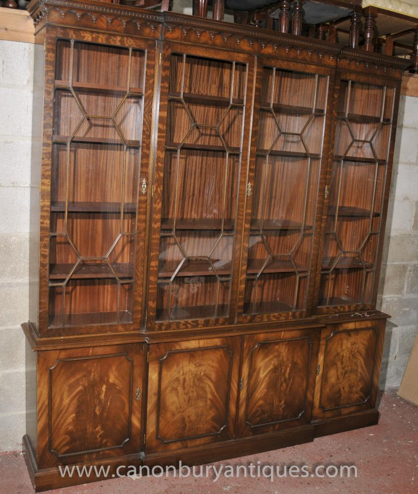 Victorian Breakfront Bookcase Shelf Unit Display Cabinet