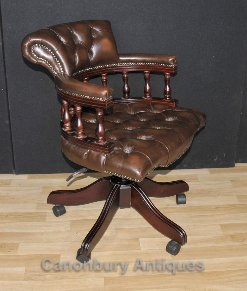 Victorian captains chair office swivel desk chairs with for Chair with swivel desk