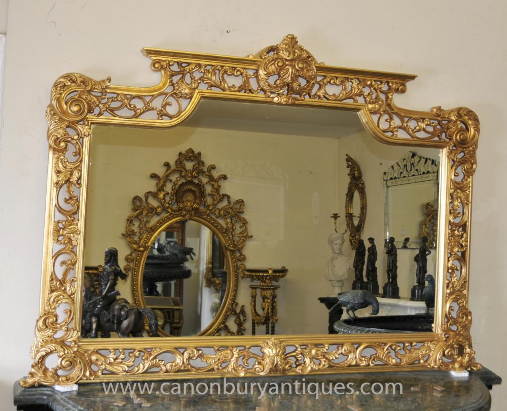 Victorian gilt mantle mirror ornate frame mirrors for Mantle mirror