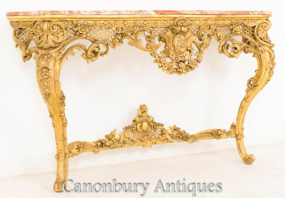 Victorian gilt wood console table rococo marble top for Victorian woodwork