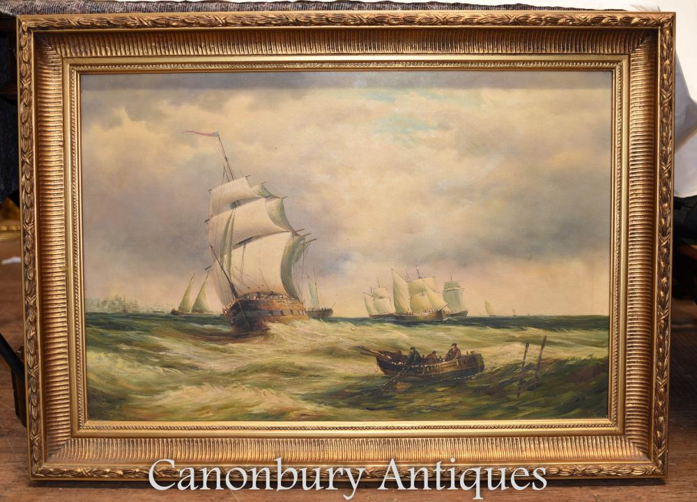 Victorian Oil Painting Seascape Maritime Galleon Ship