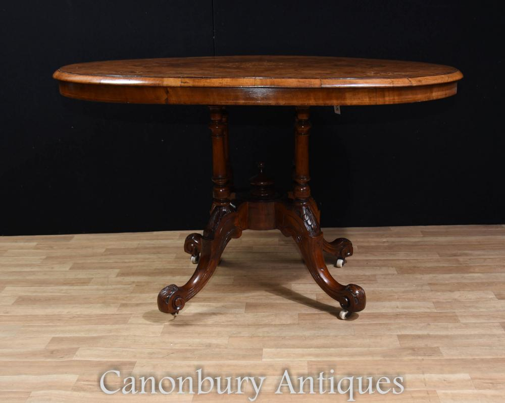 Victorian walnut centre table loo tables marquetry inlay for Table 85 address