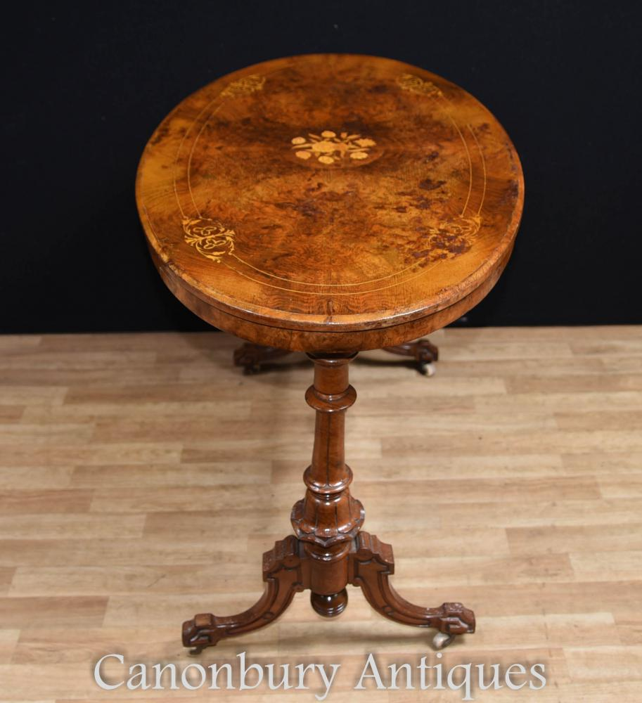 French Victorian Coffee Table: Victorian Walnut Coffee Table Marquetry Inlay