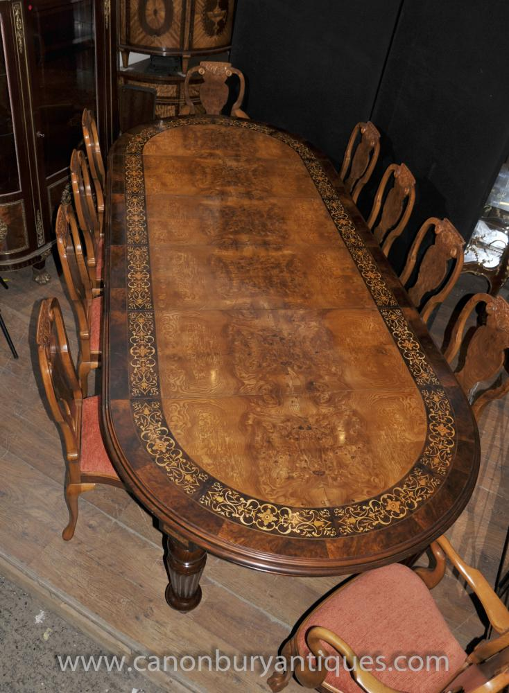 Victorian Walnut Dining Set Table And Queen Anne Chairs