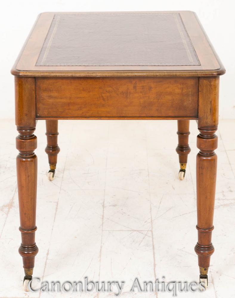 Victorian writing table desk mahogany tables bureau for Bureau table