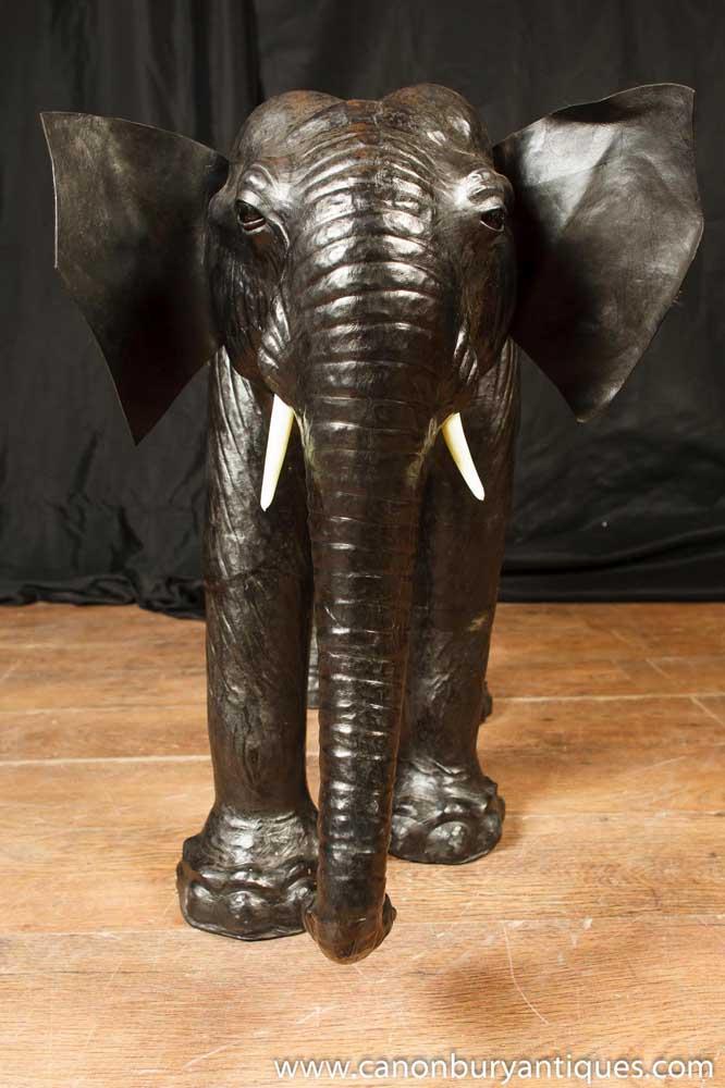 Vintage Leather Elephant Statue Elephants
