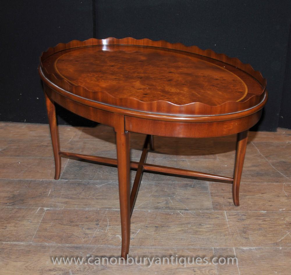 Walnut regency coffee table side tables for Walnut coffee table