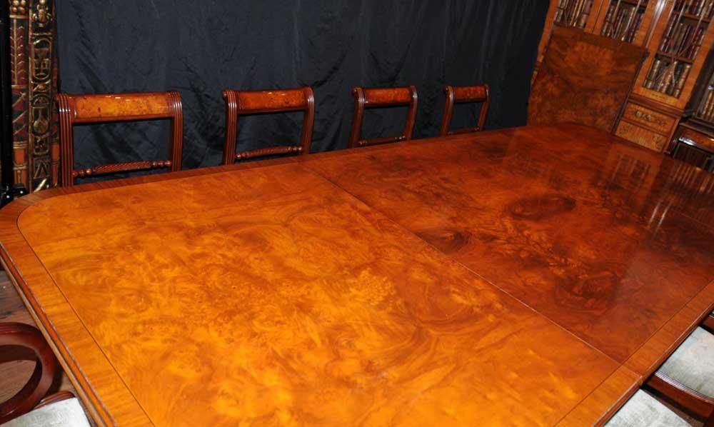 Walnut Regency Dining Set Pedestal Table Matching 12 Chairs