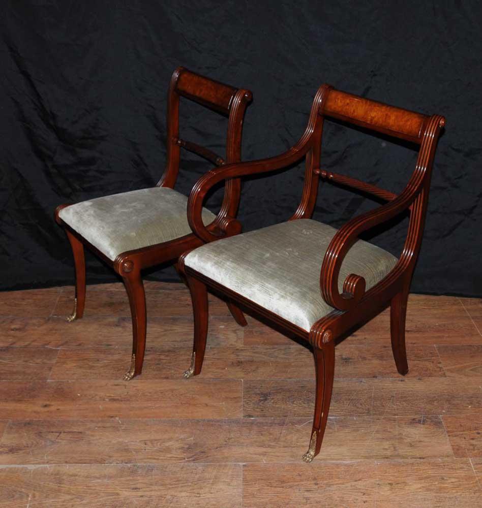 walnut regency dining set pedestal table matching 12 chairs. Black Bedroom Furniture Sets. Home Design Ideas