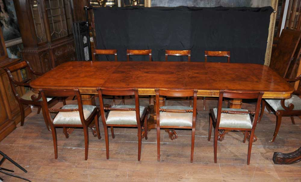 Additional Images - Walnut Regency Dining Set Pedestal Table Matching 12 Chairs EBay