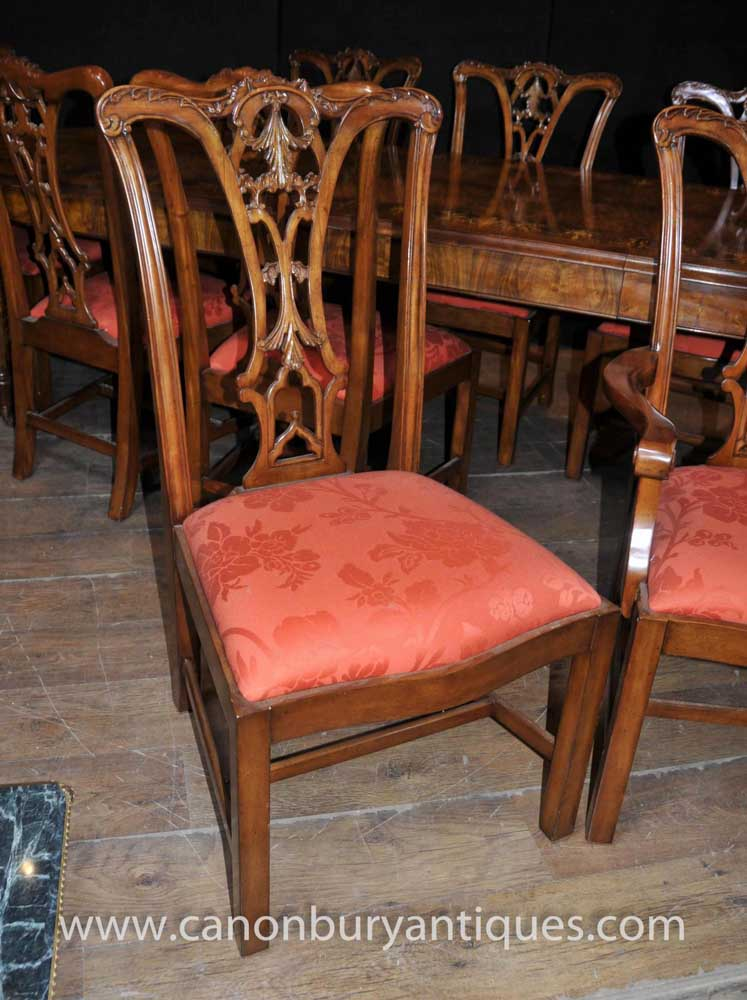 Walnut Victorian Dining Table Chippendale Chair Set Tables