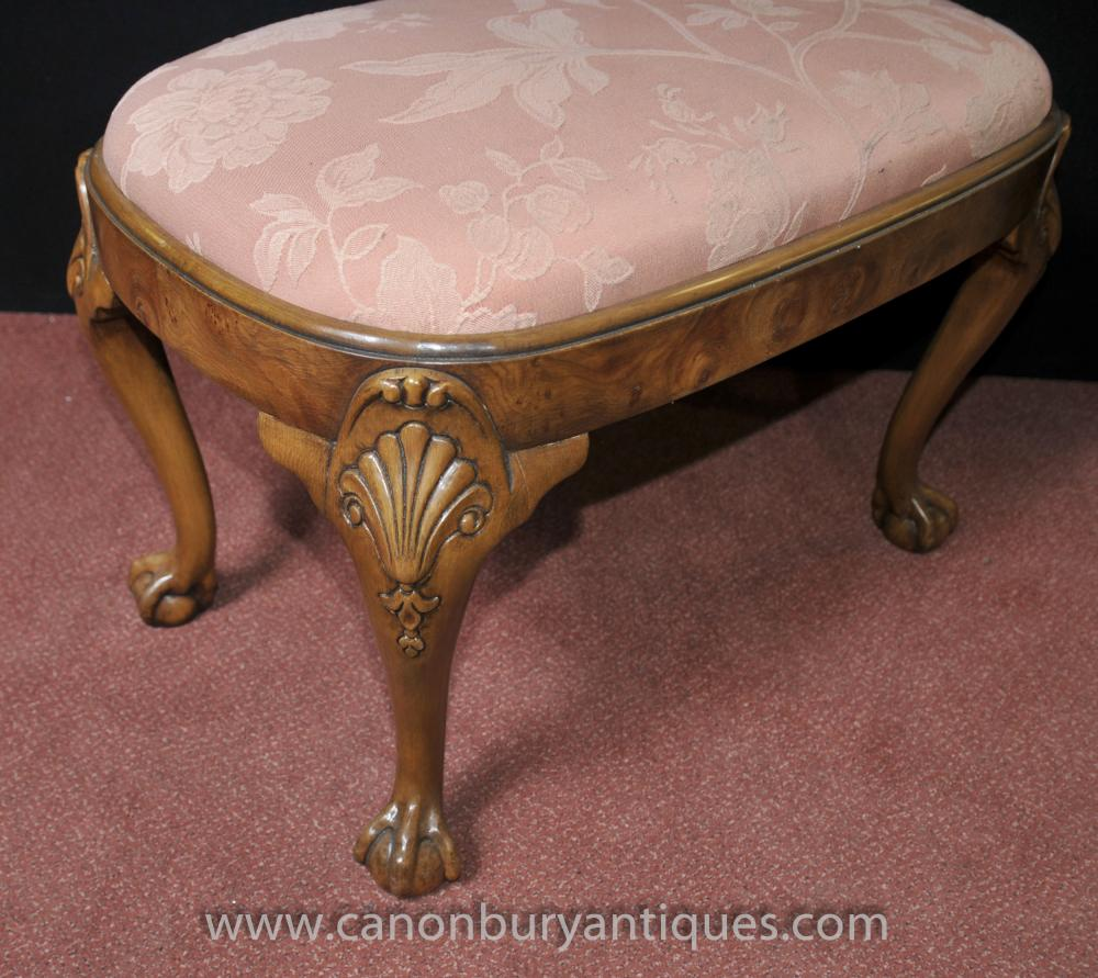 Walnut Chippendale Stool Seat Ball And Claw Feet