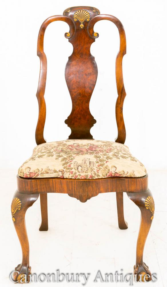Walnut Queen Anne Dining Suite Table Chairs And Sideboard