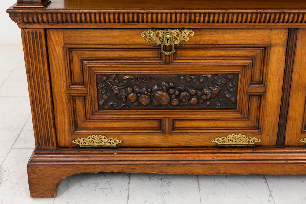 Walnut victorian sideboard buffet carved cabinet for Carved kitchen cabinets