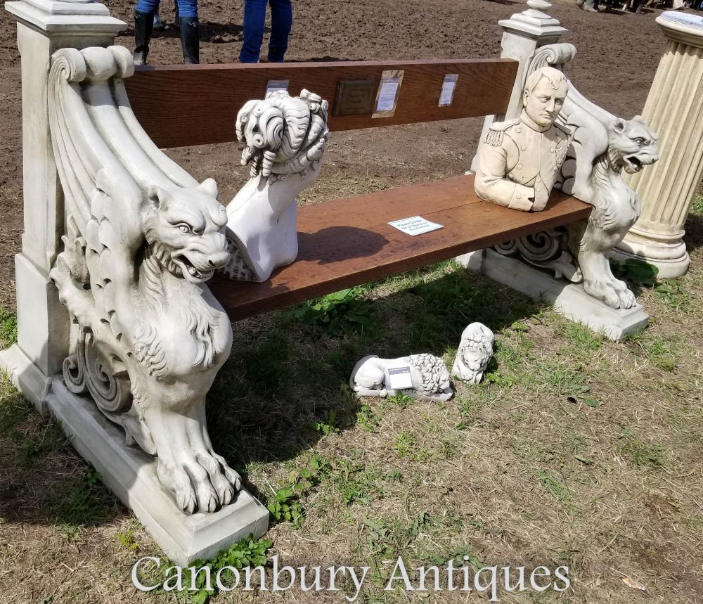 Stone Garden Seats: Winged Lion Stone Garden Seat Bench