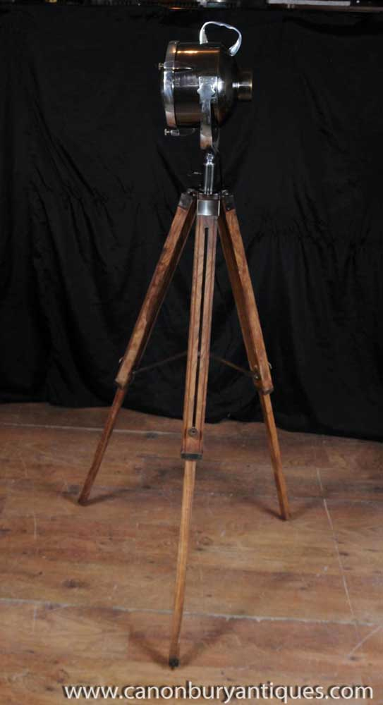 Wood Chrome Tripod Lamp Architectural Spot Light Floor