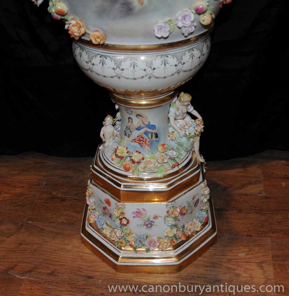 Xl German Meissen Porcelain Encrusted Vases Maiden Urns