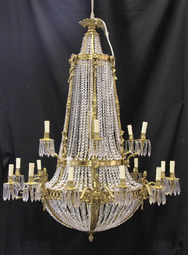Xl French Louis Xvi Ormolu Chandelier Light Crystal Glass