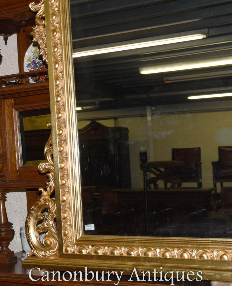 Xl regency gilt mantle mirror 6 feet wide 2 metres glass for Miroir 2 metres