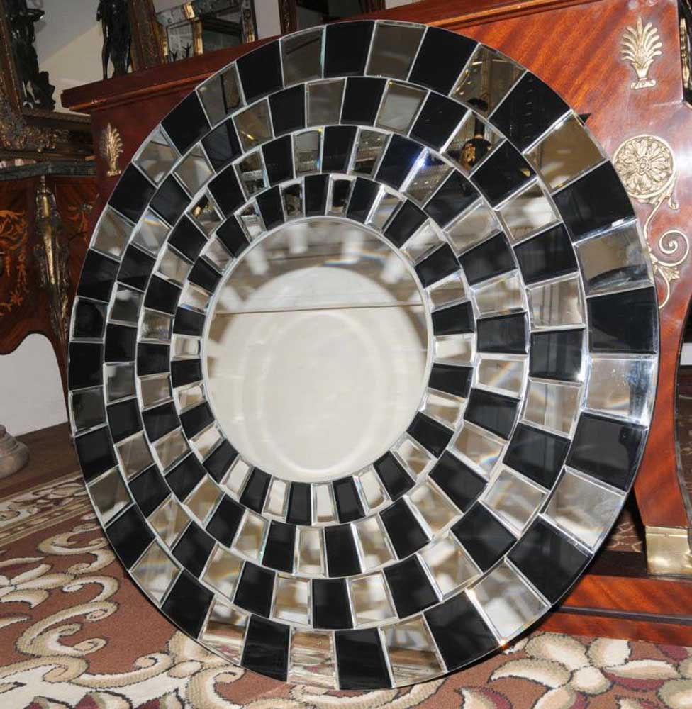 A round art deco glass mirror interior design for Mirror glass design