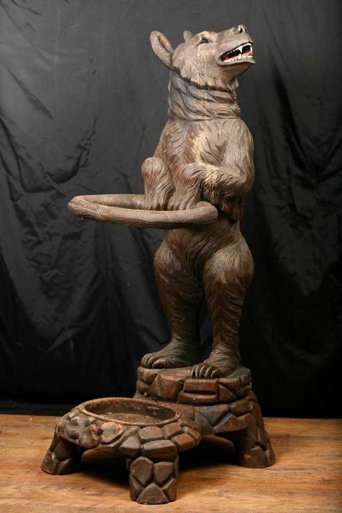 Antique Black Forest Bear Umbrella Stand Statue Carved