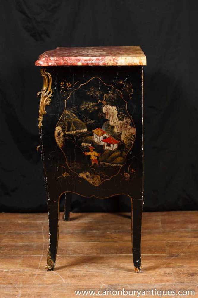 Antique Black Lacquer Bombe Commode Chinoiserie Chest Drawers