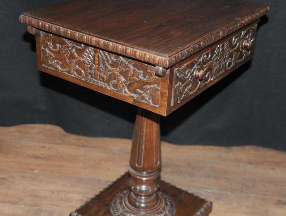 Antique Carved Burmese Side Hall Table Wood