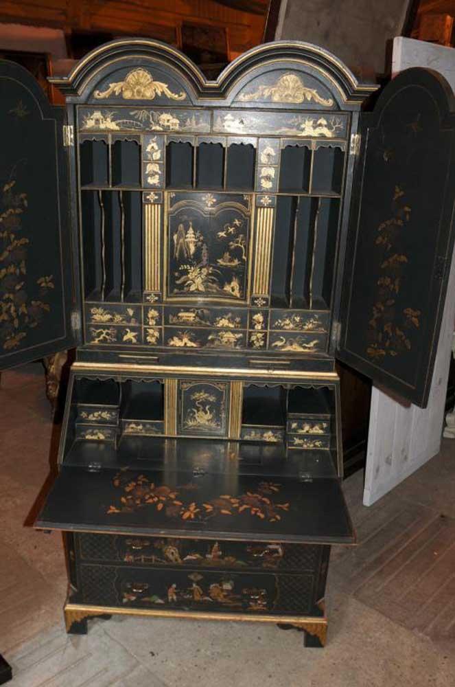 Antique Chinoiserie Bureau Bookcase Black Lacquer Desk Book