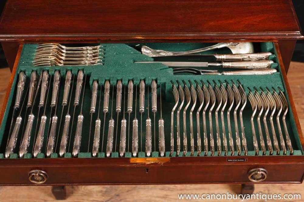 Antique Edwardian Cutlery Cabinet Sheffield Silver Plate