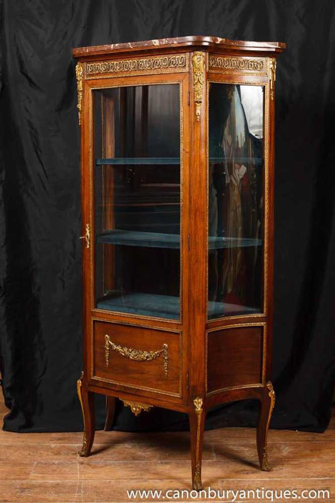 Antique french empire display cabinet vitrine 1900 for Sideboard vitrine