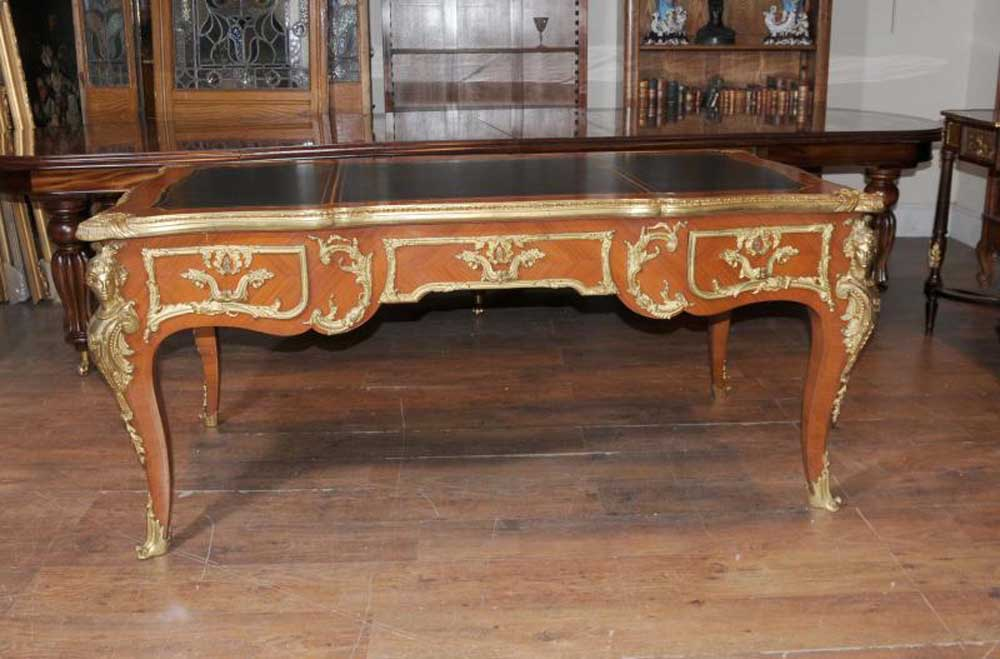 antique french empire partners desk bureau plat writing. Black Bedroom Furniture Sets. Home Design Ideas