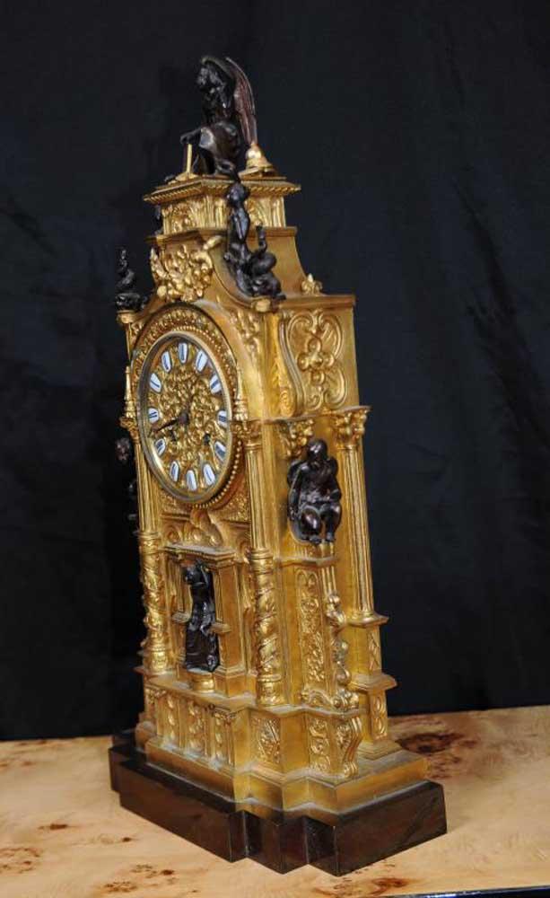 Antique French Gothic Bronze And Ormolu Mantel Clock