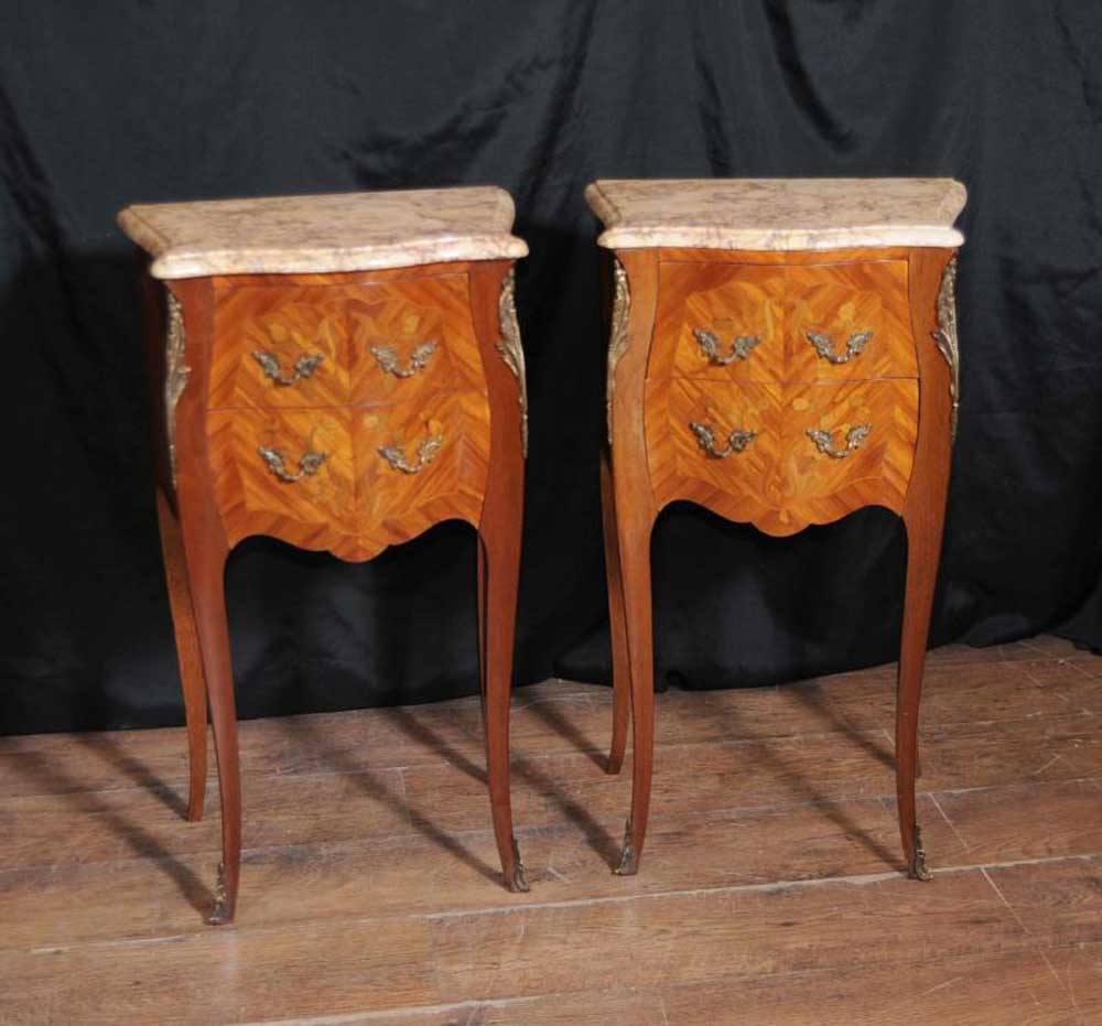 Antique Furniture: Antique French Nightstands Side Chests Tables 1930s Furniture