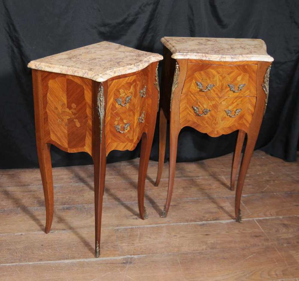 Antique French Nightstands Side Chests Tables 1930s Furniture