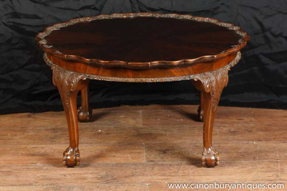 Hand Carved Coffee Tables ~ Antique mahogany chippendale coffee table hand carved tables